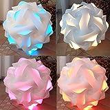 Puzzle Lampe Größe L XL XXL fertig montiert mit Farbwechselbirne (Größe XL 42 cm Durchmesser)