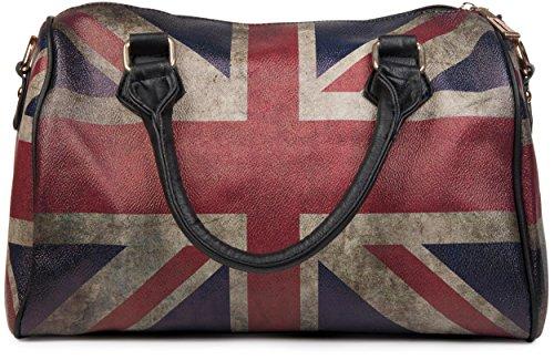styleBREAKER Union Jack Handtasche im Großbritannien Vintage Design, Bowling Tasche, Henkeltasche, Damen 02012015, Farbe:Schwarz / Modell-2 (Damen Union Handtasche Jack)