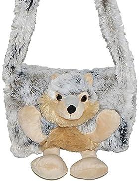 Unbekannt weicher Muff -  Hund Husky / Wolf  - mit extra Tasche - für warme Hände - Kinder Kindermuff - Tiere...