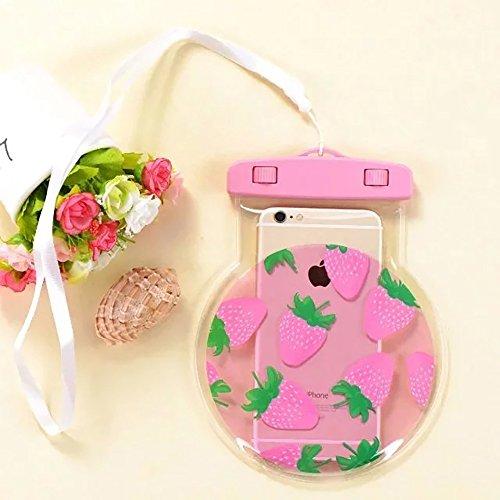 Aohro Universel Etui Housse Pochette étanche / Imperméable pour iPhone 6, 6 plus, 6s, 6s plus, SE, 5s, ;idéal pour natation, la plage, pêche, la randonnée - ananas jaune fraise rose