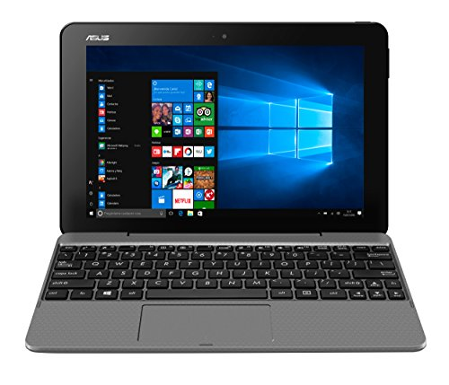 ASUS T101HA-GR001T - Tablet de 10.1' (Intel Atom x5-Z8350 , RAM de 2 GB, EMMC de 32 GB, Intel HD Graphics, Windows 10 Home) metal gris - Teclado QWERTY Español
