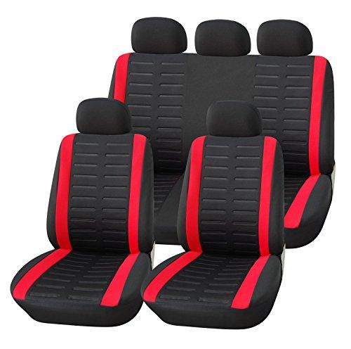 Upgrade4cars Coprisedile Universale Auto Rosso Nero Set Copri-sedili Donna Universali per Anteriori e Posteriori Accessori Auto Interno
