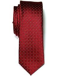 Retreez Check Textured Woven Microfiber Skinny Tie Necktie - Various Colors