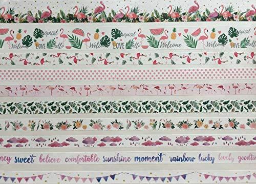 10 Rollen Washi Tape Set Flamingos - Flamingos Ananas Palmen Melonen Blüten Blätter Herzen Love Hello Tropical usw. (Palmen 15mm)