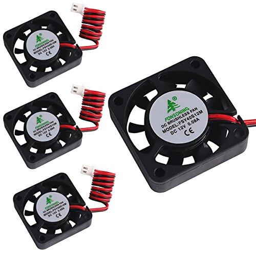 MakerHawk 4pcs Impresora 3D Ventilador 12V 0.08A DC Ventilador Mini Quiet 40X40X10mm con 28cm de Cable para Impresora 3D, DVR y Otros Dispositivos pequeños Reemplazo de reparación de la Serie