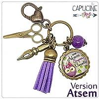 Porte clés - bijou de sac Atsem - Bronze et cabochon verre illustré Une Atsem Super Chouette - idée cadeau ATSEM, cadeau fin d'année scolaire