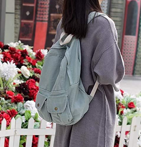 Fsweeth Frische kleine Double Shoulder Bag Female einfache Kunst Harajuku Wind 2-Pocket Jeans travel College Student kleine Beutel, 31 * 36 * 12 cm, Denim Blau-grün -