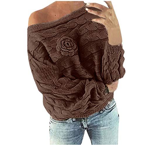 MEIbax Damen Multicolor Striple Flower Pullover beiläufige Gestrickte Long Sleeve Sweatshirt Strick Wollpullover Grobstrick -