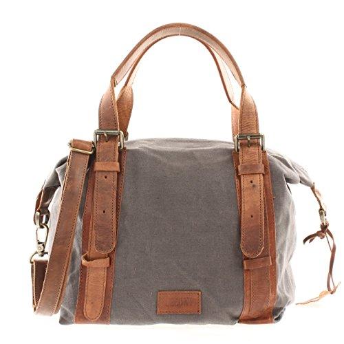 LECONI Henkeltasche Vintage Look Canvas + Leder Schultertasche Handtasche  Retro Umhängetasche Damen 36x31x13cm LE0049-C