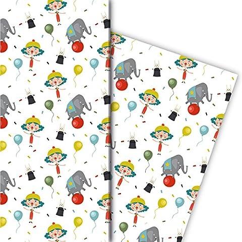 Kinder Zirkus Geschenkpapier Set (4 Bogen) / Dekorpapier mit Clown, Ballons und Elefant für schöne Geschenk Verpackung und Überraschungen basteln 32 x 48cm