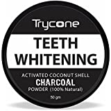 Trycone Coconut Shell Activated Charcoal Instant Teeth Whitening Powder,SLS and Fluoride Free,100% Natural - 50 Gm