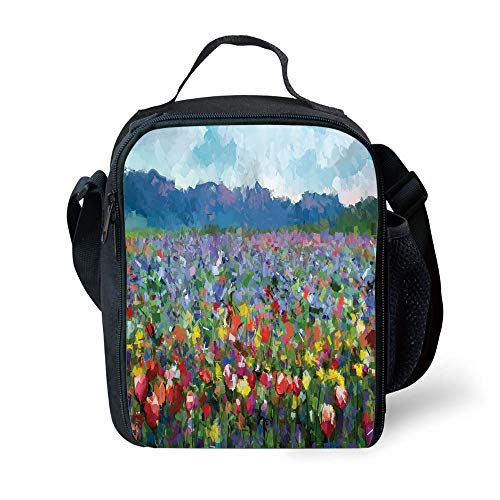 School Supplies Art,Rural Landscape with Bunch of Tulip Flower Spring Meadow Refreshing Botany Blurry Image Decorative,Multicolor for Girls or Boys Washable - Spring Meadow Green