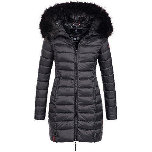 Marikoo ROSE-110 Damen Mantel Jacke Steppjacke Winterjacke lang gesteppt Übergang XS-XXL, Farbe:Schwarz, Größe:M / 38