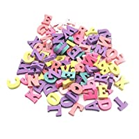 100Pcs Colorful Wooden Alphabet Scrabble Tiles Letters Numbers Children