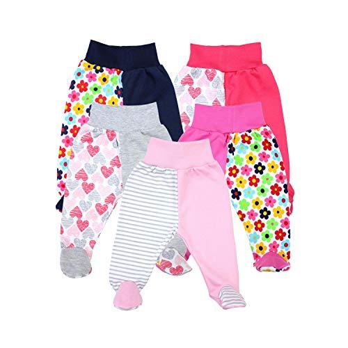 TupTam Unisex Baby Hose mit Fuß Bunte Strampelhose 5er Pack, Farbe: Mädchen, Größe: 62