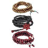 Cupimatch Bracciale Braccialetto Buddha Preghiera Uomo Donna Buddista Tibetano Legno Perle rosari Multistrato di avvolgimento(3 Colori/Pezzi)