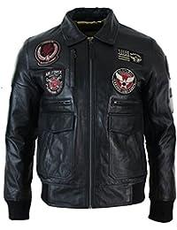 1f36239dac8b Blouson en Cuir véritable Noir Homme avec Badges Style aviateur air Force  Bomber
