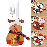 HENGSONG Weihnachten Tischdeko Bestecktasche Besteckbeutel Besteckhalter Tische Accessoires für Weihnachten Deko, 1 Stück / 3 Stück / 6 Stück (1 Stück, Elch)