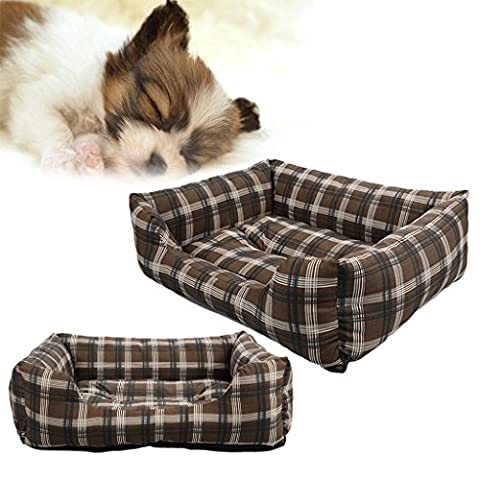 SymbolLife Soft Washable Dog Cat Pet Bed Cushion Rectangle Pet Bed All Season Pet Bed with Classical Plaid Design, XXL Coffee
