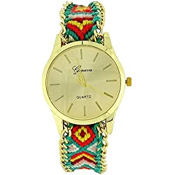 The Olivia Collection Ladies Pull Tie Closure GreenMulticolour Woven Strap Watch