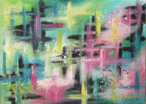 DREAM COLOURS abstraktes Acrylgemälde auf Leinwand 70cm x 50cm, Kunst Bild Original