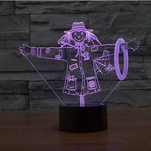 3D lampe Charming 3D Vogelscheuche Lampe Hut Modell Illusion Led-lampe 7 Farbwechsel USB Touch Dekorative Großes Geschenk für ()