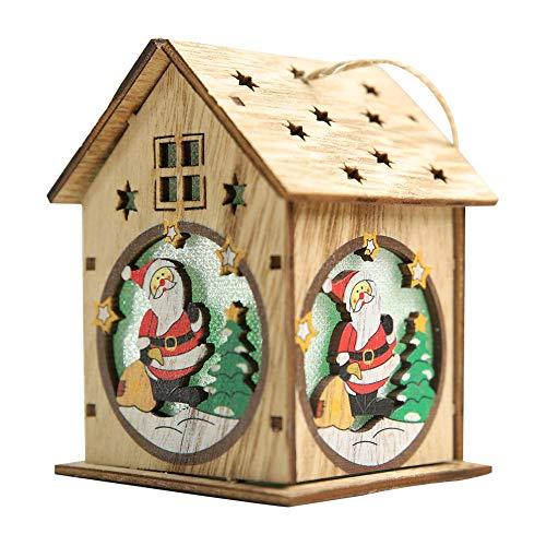 kabine Kreative DIY Wohnkultur Kleines Haus Dekoration Holz Weihnachtsbaum Schneemann Kreative Weihnachten DIY Dekoration Handwerk Ornamente ()