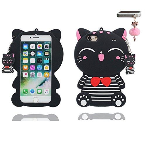 """iPhone 6 Plus Hülle, 3D Cartoon Shiba inu Dog Cover iPhone 6s Plus handyhülle (5.5 zoll) flexible TPU Shell iPhone 6 Plus case (5.5""""), Staub Rutsch kratzfest & Staubstecker Schwarz"""