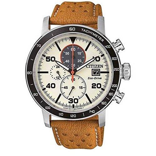 Citizen Herren Chronograph Quarz Uhr mit Leder Armband CA0641-16X