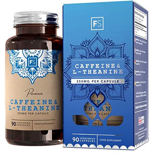 FS Koffein-Tabletten + L-Theanin [100 mg / 250 mg], 90 vegane Kapseln | Keine Füllstoffe/Bindemittel | Natürliche, clevere Kaffee-Formel | Produktivitäts-Stack für mehr Energie - Ohne Gluten & Milch -