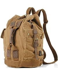 iBaste nuevo mochila de vintage de cuero de genuino Mochila de lona Mochila de viaje Mochila de senderismo(portátil/mochila) (Moreno)