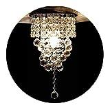 KAWELL Deckenleuchte Modern Kristall Kronleuchter Deckenlampe Kristall K9 Lampenschirm Chrom Edelstahl Lampenhalter für Schlafzimmer, Flur, Wohnzimmer, Korridor (Höhe 38CM, Durchmesser 20CM)