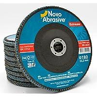 NOVOABRASIVE Extreme Conici Zirconio Dischi Lamellari 180 mm Confezione Da 10 Pezzi