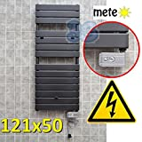 Elektro Badheizkörper ANTHRAZIT Badheizung 121x50 cm Handtuchwärmer DESIGN - elektroheizstab mit thermostat