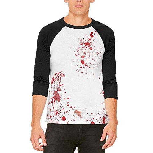 Halloween Blut Splatter Mens Raglan-T-Shirt White