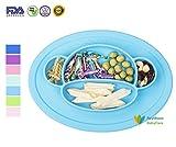RayMoon Baby Kleinkinder Teller Schale Platzdeckchen Tischset Rutschfest Affe Form Silikon Geschirr Blau