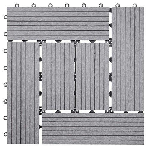 Mendler WPC Bodenfliese Rhone, Holzoptik Balkon/Terrasse, 11x je 30x30cm = 1qm ~ Basis, grau versetzt