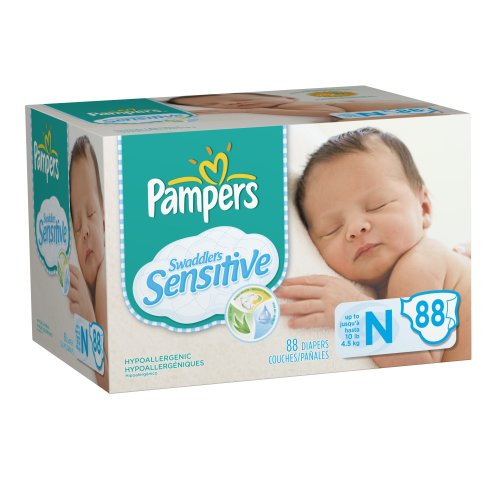 Pampers Swaddlers Sensitive Diapers (88 PCS, NB)