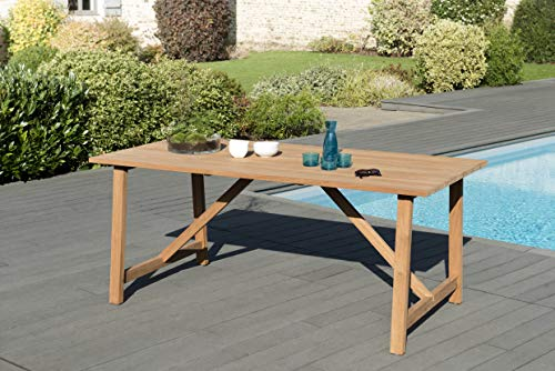 MACABANE 509513 Table Soho Couleur Naturelle Couleur Naturel en Teck Dimension 180cm X 90cm X 76cm