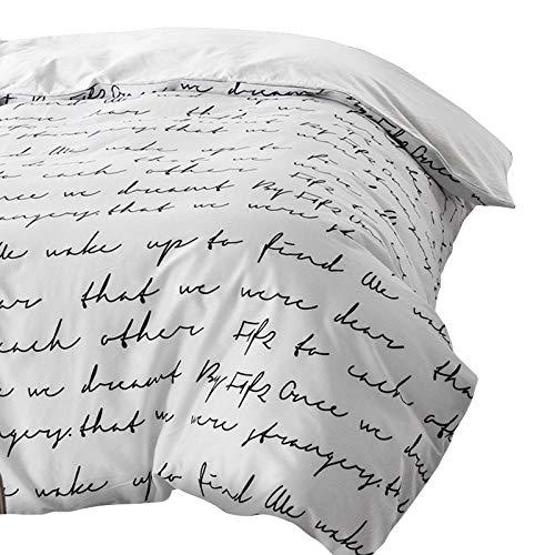 TylAdamdongdong Kinderbettwäsche,Letter Bettbezug Weiß Schwarz Grau Twin Full Queen King Double Single Bedding-Weiß_155 x 215