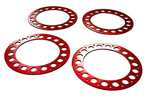 Integy RC Modélisme Hop-ups C22615RED Outer Red Ring O.D.102mm (4) for Beadlock Roue