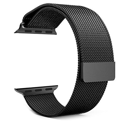 MoKo Bracelet de Remplacement Milanais pour AppleWatch, en Acier Inoxydable, avec fermeture magnétique pour iWatch 42mm(Compatible avec 2016 Nouvel Watch Series 2), Noir