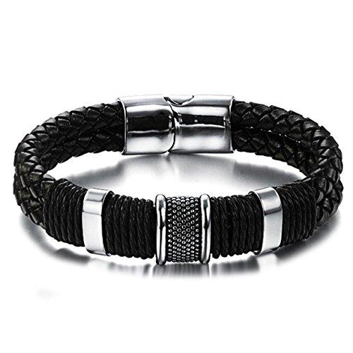 Vittore, Herrenarmband, schwarzes Leder-Design mit Edelstahlverschluss (Italienische Leder Giovanni)