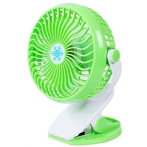 CLDGF USB-Ventilator, 360 ° Drehbarer Stufenloser Geschwindigkeitsregulierungs-Klipp-Art Ventilator, Passend Für Baby-Wagen, Schlafzimmer, Büros, Etc,Green