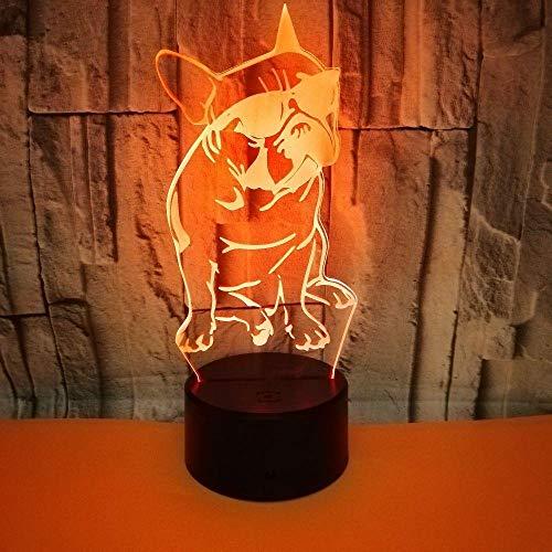 Llhyd 3D Französisch Bulldog Und Sonnenbrille Led Nachtlicht Tischlampe 7 Farbe Verschiebung Optische Täuschung Lampe Für Leben Bett Zimmer Bar Beste Geschenk Spielzeug -