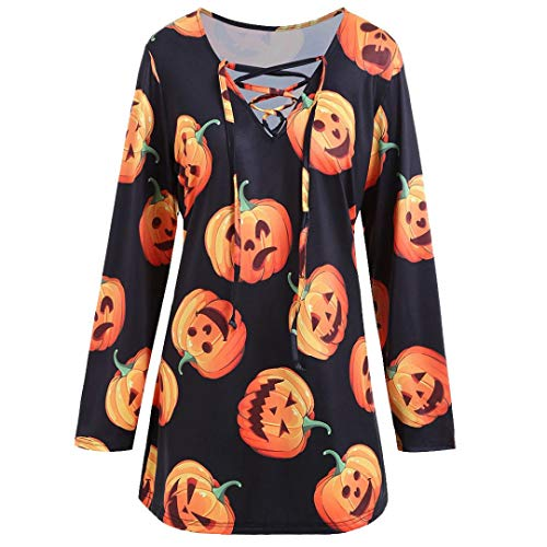 (TWIFER Damen Halloween Kürbis Teufel Cosplay Kostüme Herbst Pullover Langarmshirts)