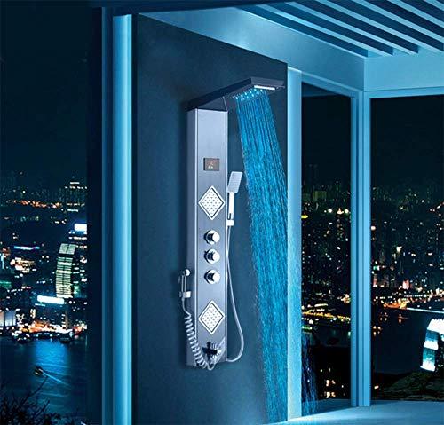 Wangyongqi Duschpaneel mit LED-Duschsäule, Regenwasserfall, Digital-Bildschirm, TEMP 3 Griffe, Mischbatterie, Bidetdusche -