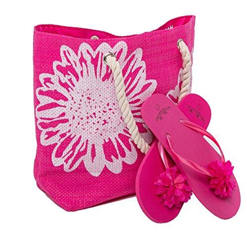 Airee Fairee Borsa da Spiaggia Donna + Infradito 2 Pezzo Floral Grande Borsa 46 x 33 x 14cms