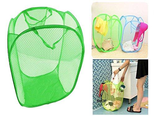 TriEcoWorld faltbar Pop Up Mesh-Wäschekorb Korb Tasche Bin behindern Spielzeug ordentliche Aufbewahrung grün (Wire Mesh Band)
