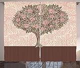 ABAKUHAUS Rose Rustikaler Gardine, Blühender AST, Schlafzimmer Kräuselband Vorhang mit Schlaufen und Haken, 280 x 260 cm, Hellrosa Beige Braun